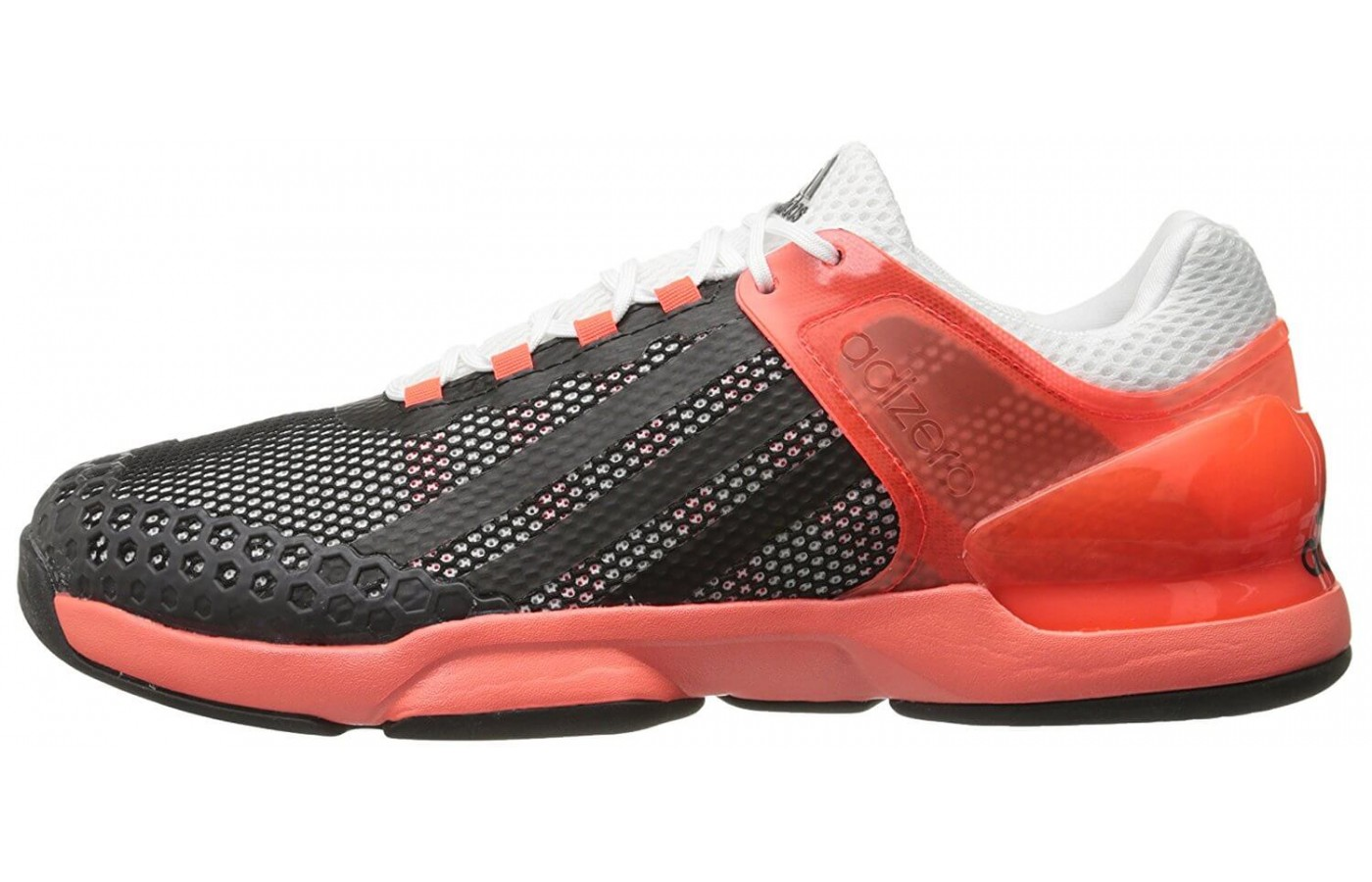 The Adidas Adizero Ubersonic has a lower heel drop in order to provide more even weight distribution.