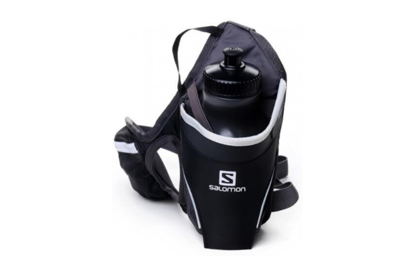 The Salomon Hydro 45 Belt includes a 20 ounce water bottle that fits in its pouch.