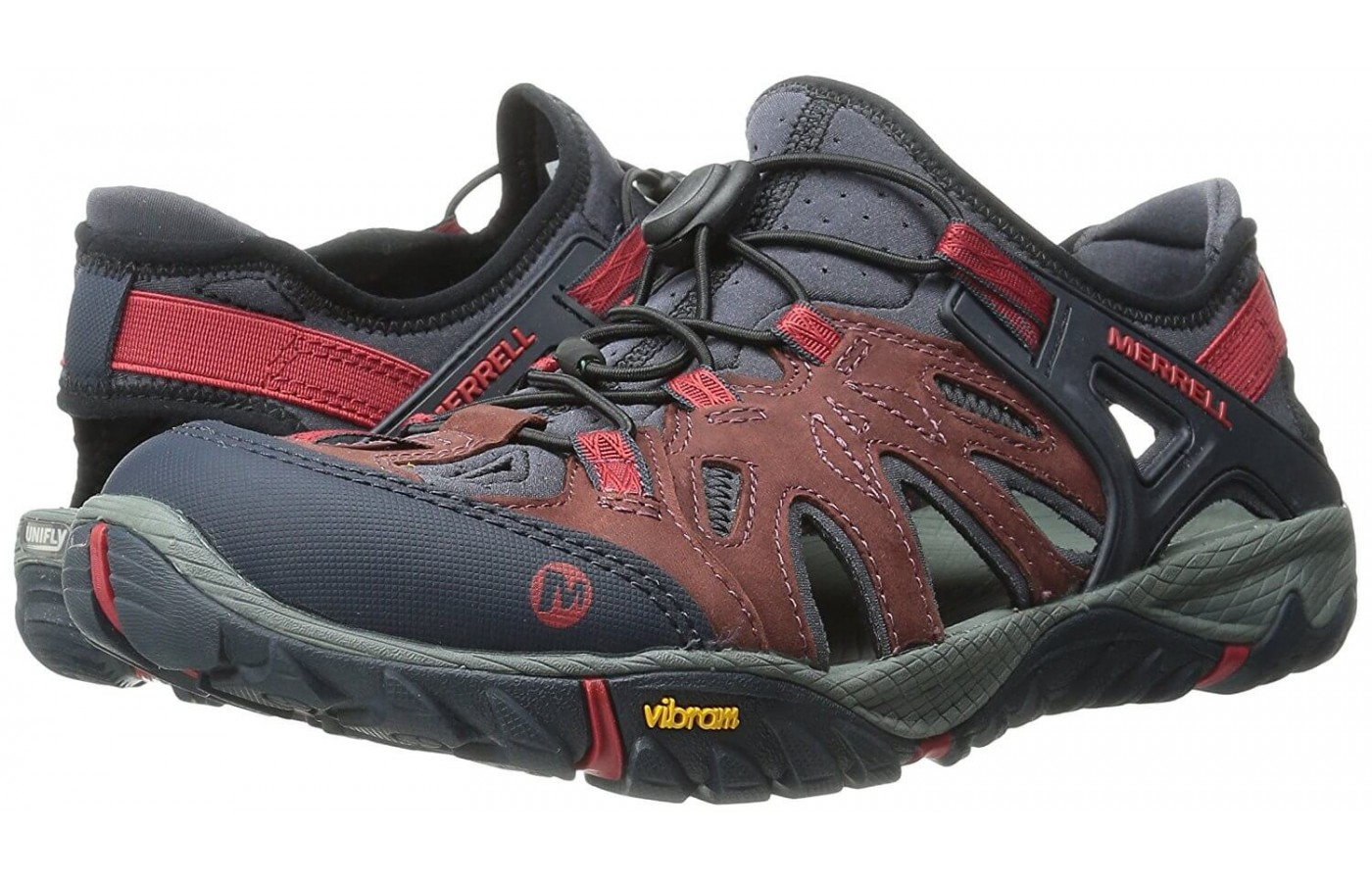 The Merrell All Out Blaze Sieve includes a variety of cut outs that act as drainage holes to help shed water.
