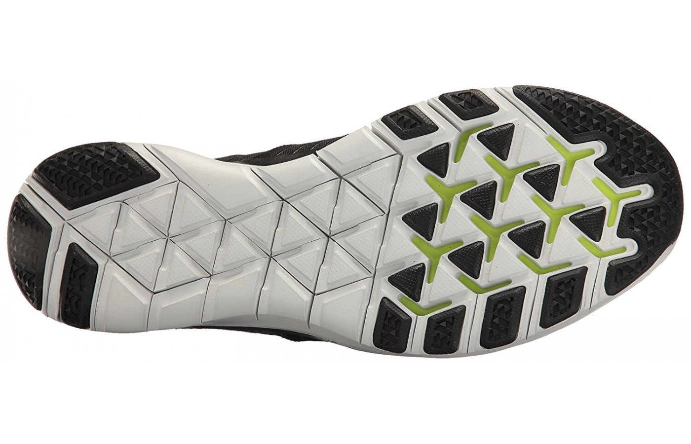 The Nike Free Train Virtue's outsole features Tri-Star flex grooves