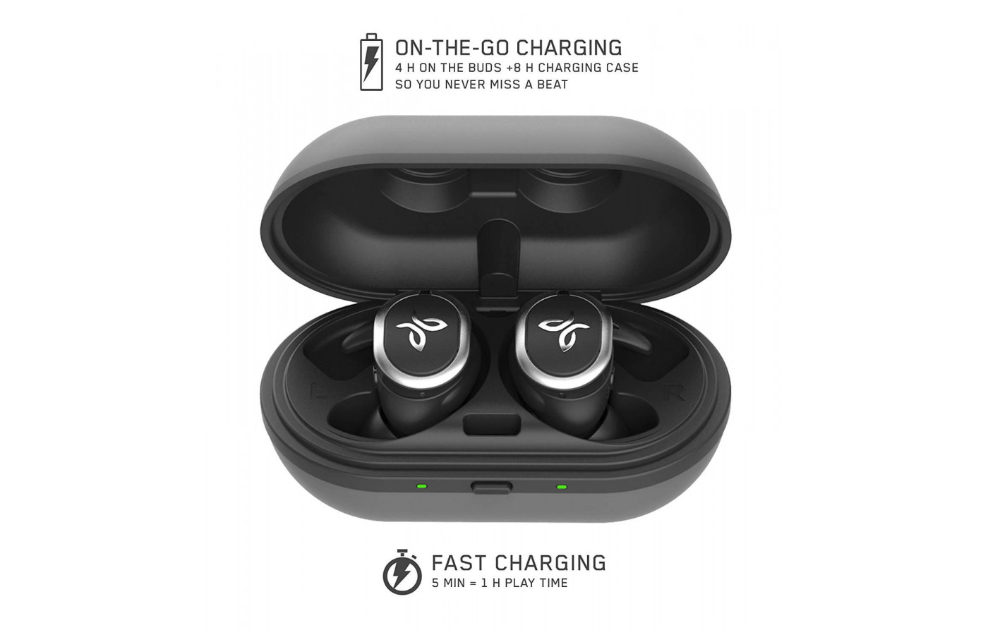 The Jay Bird Run headphones come with a carrying case that also functions as a charger