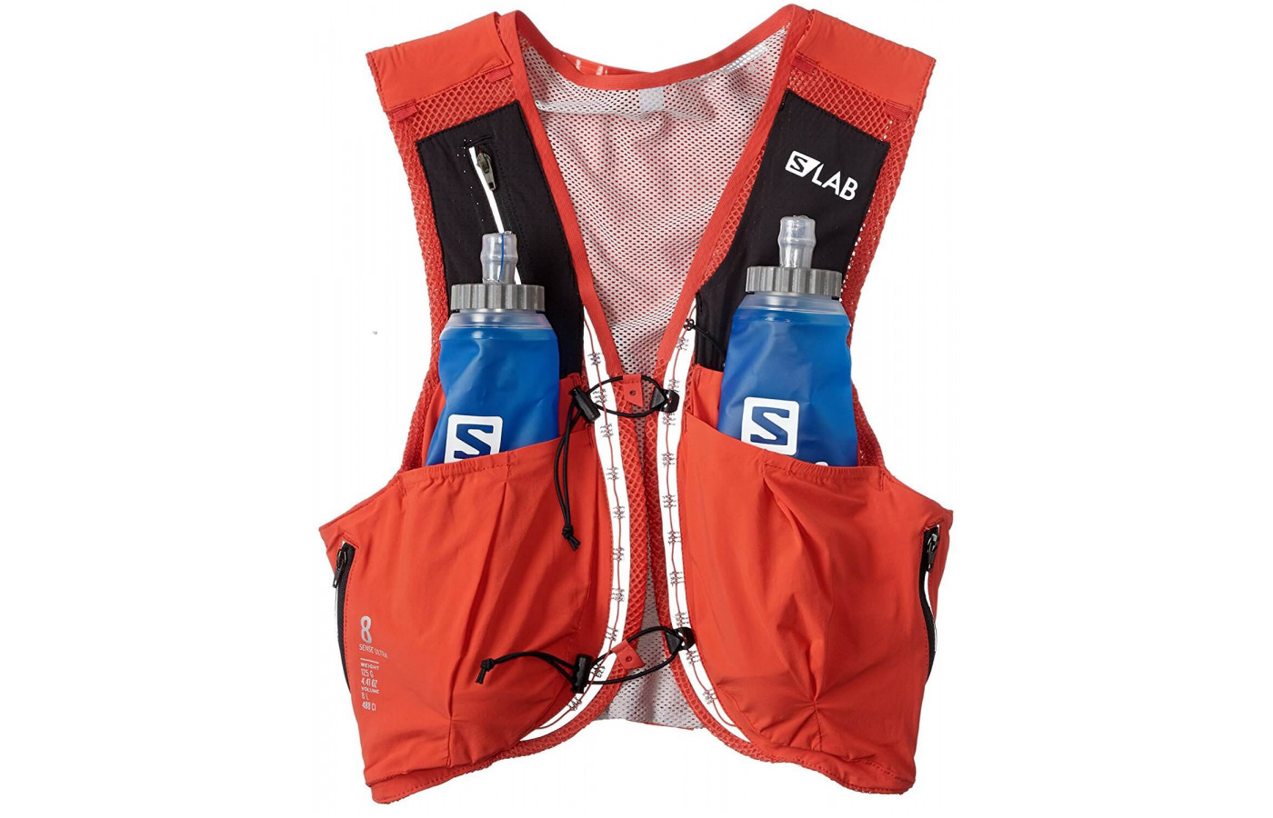 The Salomon S-Lab Sense Ultra 8 Set's bottles each hold 500mL of water and are BPA-free