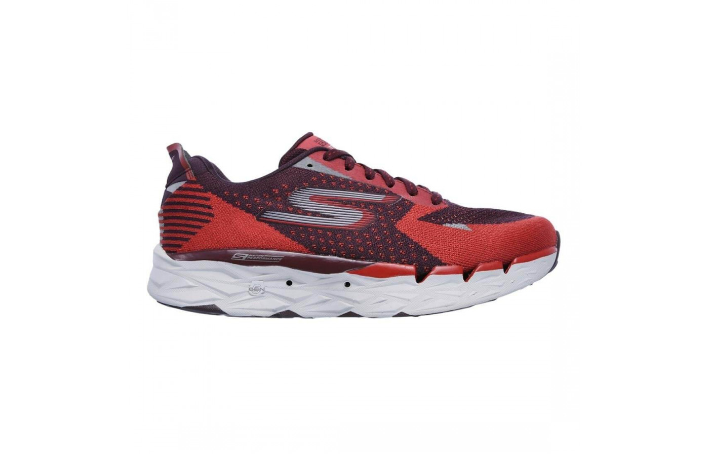 The Skechers GoRun Ultra Road features a supportive FitKnit upper construction