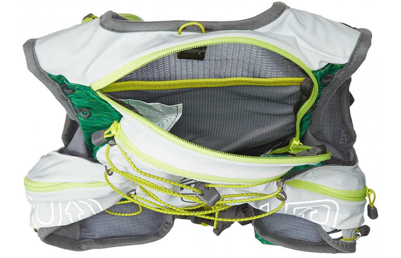 The Ultimate Direction Jurek FKT Vest features a bungee system to help reduce bounce