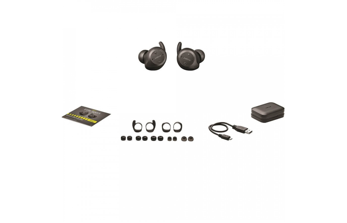 All of the accessories included with the Jabra Elite Sport.
