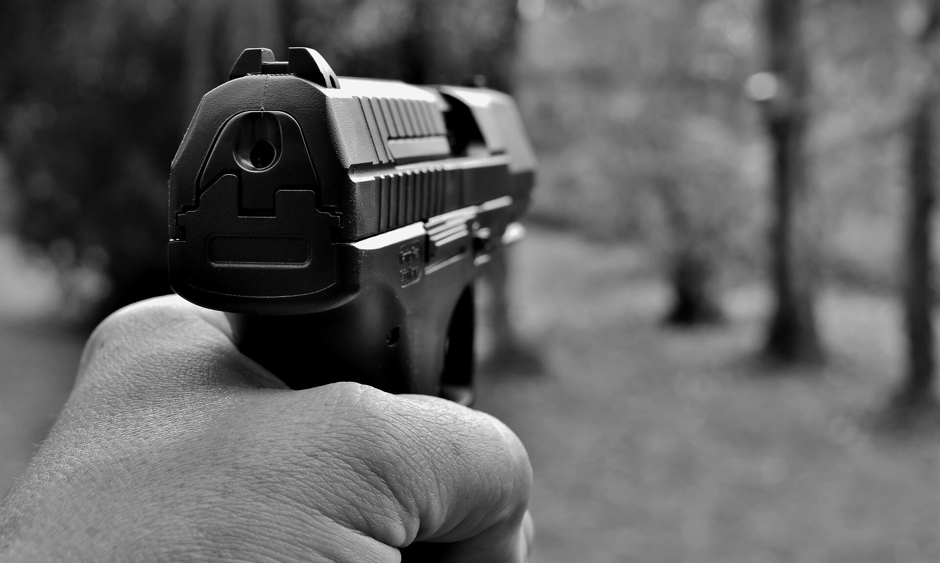 a hand holding and pointing a pistol