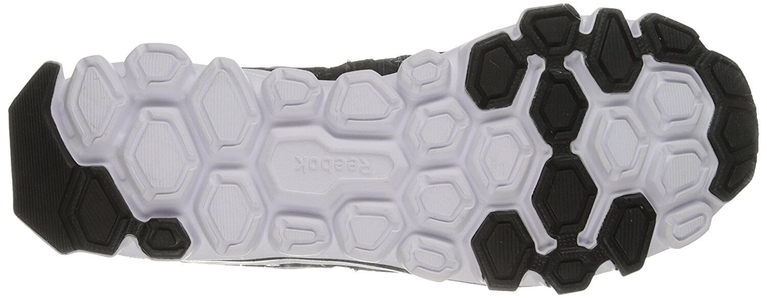 A bottom view of the Reebok Hexaffect Run 2.0.