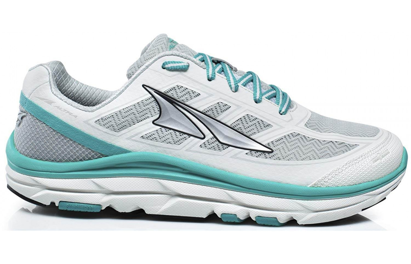 Altra's trademarked Guide Rail and StabiliPod technology work together to provide a stable wear.