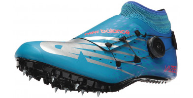The Vazee Sigma V3 racing spike features a snug synthetic upper with a BOA lacing system and integrated heel wrap.