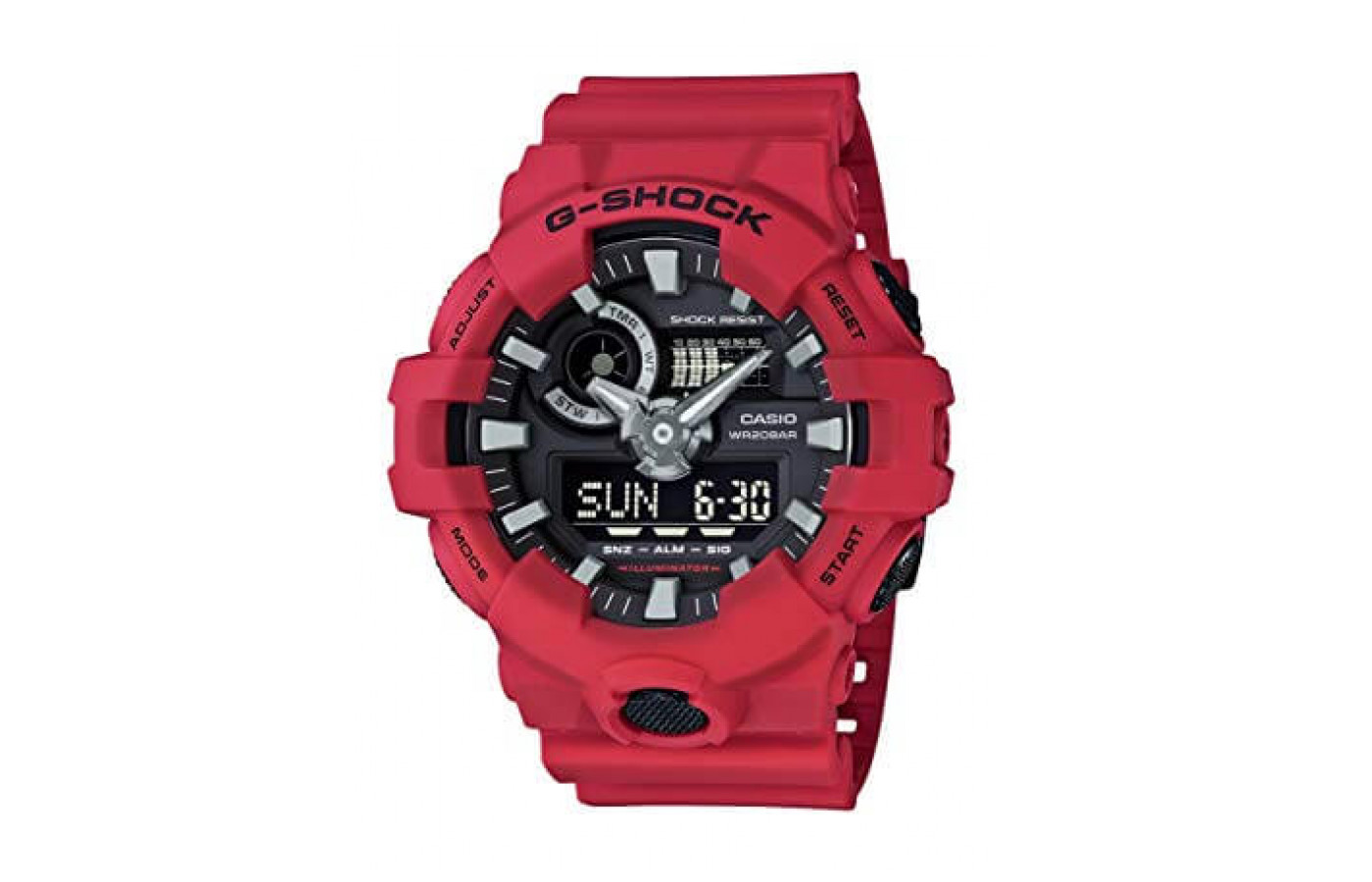 The G-Shock GA700-1B features a casing and band that's made from resin.