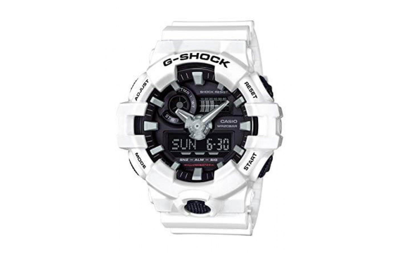 The G-Shock GA700-1B is water resistant in up to 200 meters.