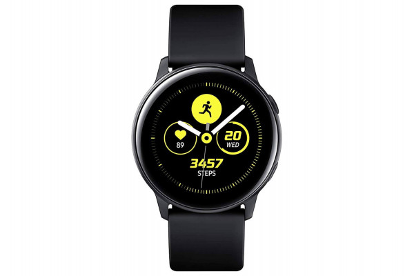 The Samsung Galaxy Watch Active tracks multiple workouts and vital signs.