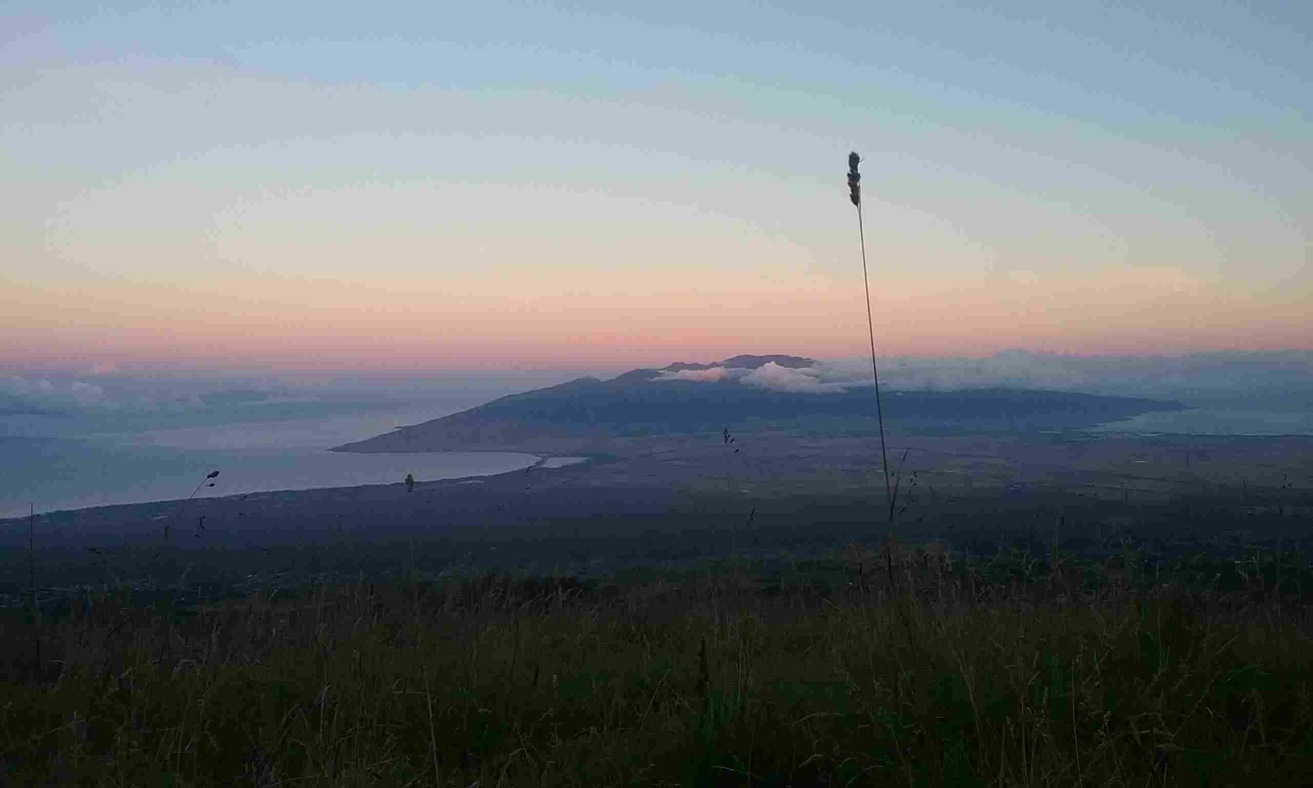 mountains in the distance at sunrise, grassy field in the forefront, maui