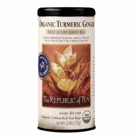 8. The Republic of Tea Organic Turmeric Ginger Green Tea
