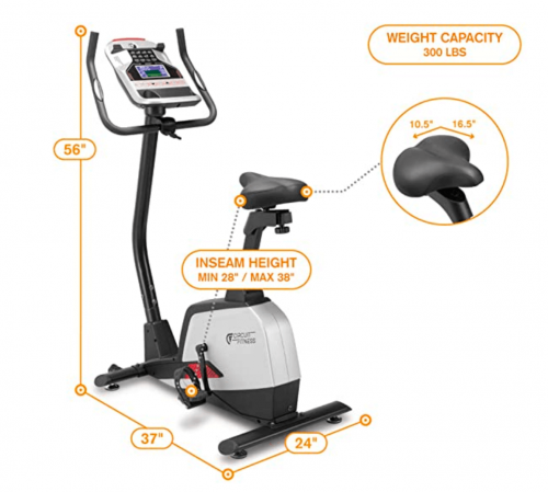 Circuit Fitness Magnetic Upright Exercise Bike with 15 Workout Presets specs 2