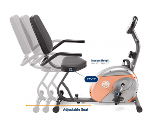 Marcy Recumbent Exercise Bike with Resistance ME-709 Display