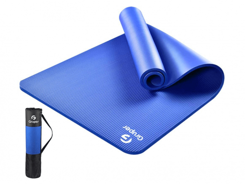Gruper All-Purpose 73Inch Long 31.5 inch Wide 2/5-Inch / 3/5-Inch Extra Thick High Density Anti-Tear Exercise Yoga Mat with Carrying Strap and Bag