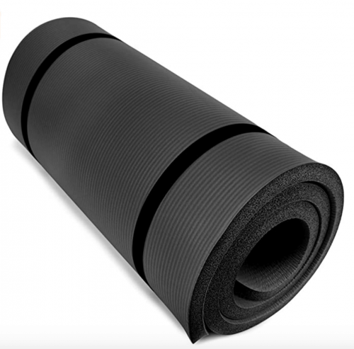 """Crown Sporting Goods Yoga Cloud Ultra-Thick 1"""" Yoga and Exercise Mat with Shoulder Sling"""