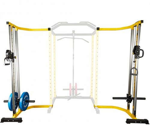 HulkFit 1000-Pound Capacity Multi-Function Adjustable Power Cage with J-Hooks and Dip Bars 2