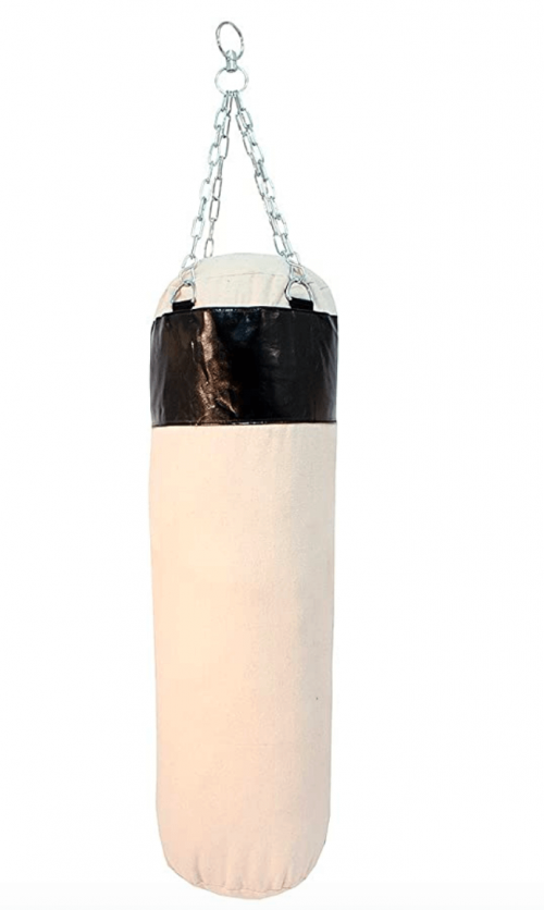 Life gears Black Canvas Punching Bag with Chains