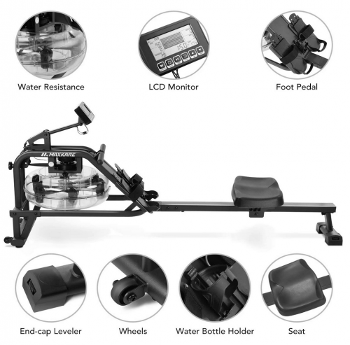 MaxKare Water Rowing Machine Water Rower features