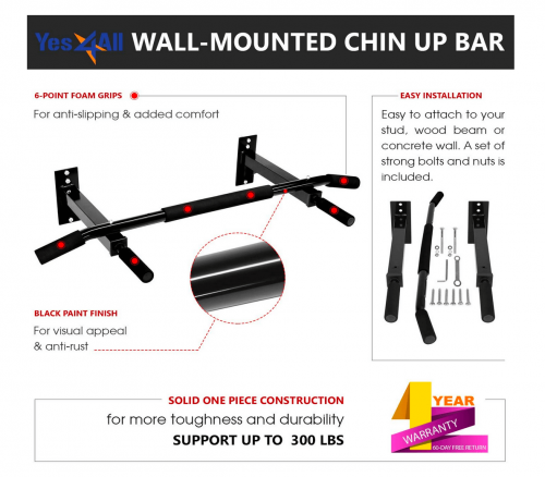 Yes4All Doorway Pull Up Bar / Chin Up Bar specs