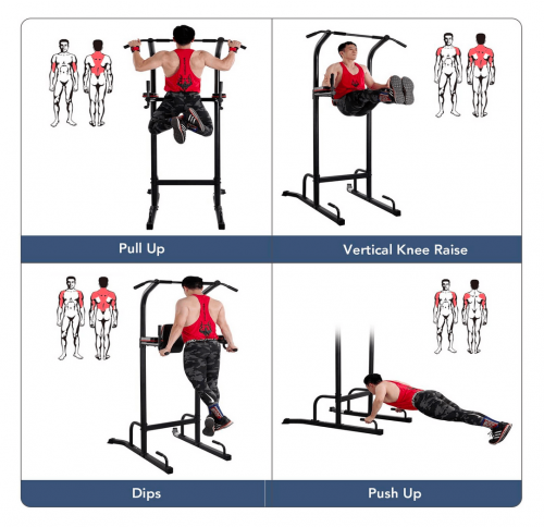 MaxKare Power Tower Pull Up Dip Station exercises