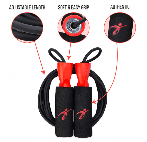 Adjustable Jump Rope with Carrying Pouch for Men and Women details