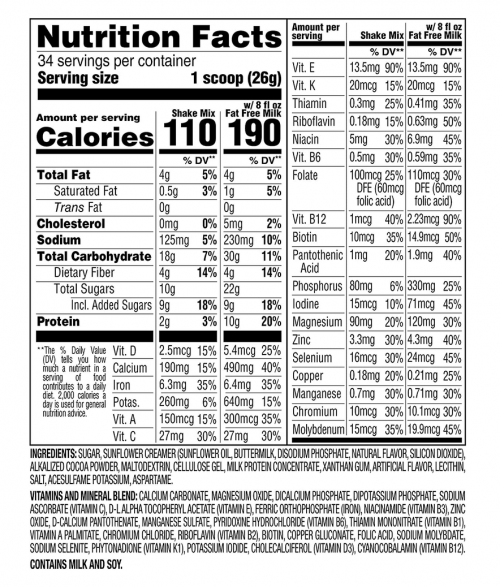 SlimFast Original Rich Chocolate Royale Meal Replacement Shake Mix nutrition facts