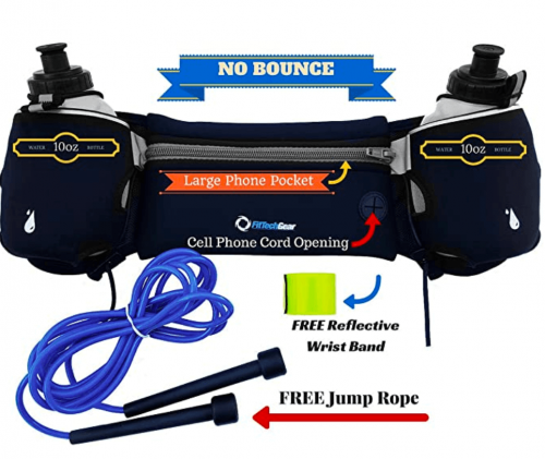 FitTech Gear Hydration Belts for Runners | Super 2 BPA Free 10oz Water Bottles | Free Jump Rope |