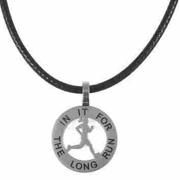 Runner Girl Mantra Charm Necklace